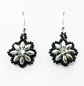 Daisy SuperDuo Earrings Beadwork Kit with SWAROVSKI® Elements - Silver and Black